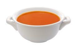 Tazón de fuente de sopa del tomate (camino de recortes) Fotos de archivo libres de regalías
