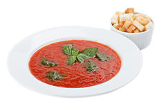 Tazón de fuente de sopa del tomate con los cuscurrones Imágenes de archivo libres de regalías