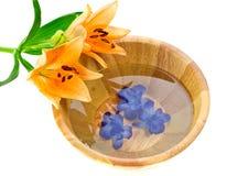 Tazón de fuente del baño con la flor del lirio Fotos de archivo libres de regalías