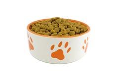 Tazón de fuente del perro con el alimento de animal doméstico Fotografía de archivo libre de regalías