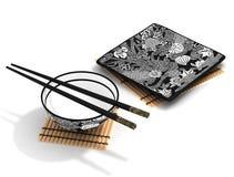 Tazón de fuente y palillos (chinos) Imagen de archivo libre de regalías