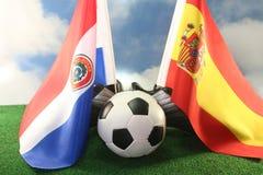 Taza 2010 de mundo, Paraguay y España Imagen de archivo libre de regalías