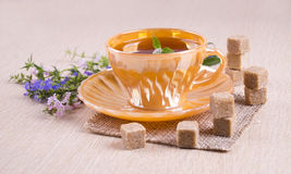 Taza anaranjada de té con los pedazos de caña de azúcar que se colocan en cada uno más allá del horizonte Foto de archivo