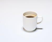 Taza blanca de café caliente en Gray Background fotos de archivo libres de regalías