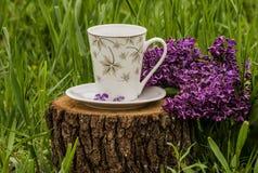 Taza blanca de lila de la rama del té o del café Imagen de archivo