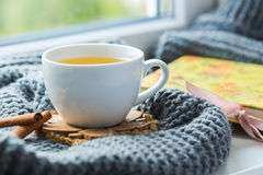 Taza blanca de té de manzanilla con la bufanda gris en el alféizar Imagen de archivo