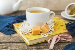 Taza blanca de té de manzanilla y libro en la tabla Imagen de archivo