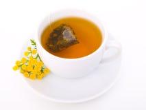 Taza blanca de té negro con la planta del tansy Foto de archivo libre de regalías