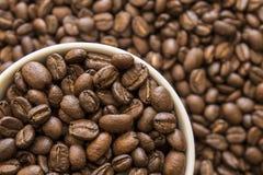 Taza blanca grande de granos de café asados fotos de archivo libres de regalías
