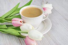 Taza blanca hermosa de taza de café hermosa y de tulipán blanco y rosado Fotos de archivo libres de regalías