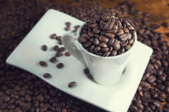 Taza blanca llena de granos de café Imagen de archivo
