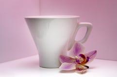 Taza blanca para el café Foto de archivo libre de regalías