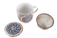 Taza blanca para el té Foto de archivo