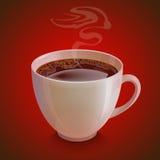 taza blanca realista del coffe con el vapor encendido Fotos de archivo libres de regalías