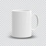 Taza blanca realista en fondo transparente Plantilla del vector para la mofa para arriba Ilustración del vector Imágenes de archivo libres de regalías