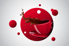 Taza brillante del color del vector de bebida caliente Fotografía de archivo