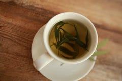 Taza caliente del blanco del té de la hierba del cáñamo del cáñamo Foto de archivo