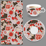 Taza común de café y de ornamento oriental floral inconsútil Imagen de archivo