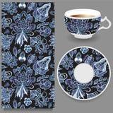 Taza común de café y de ornamento oriental floral inconsútil Fotografía de archivo