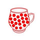 Taza con de vector rojo de los puntos Foto de archivo libre de regalías