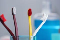 Taza con los cepillos de dientes Imágenes de archivo libres de regalías