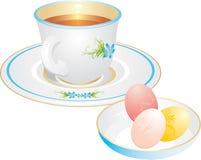 Taza con té y los huevos de Pascua stock de ilustración