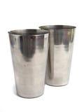 Taza de acero polaca sobre blanco Imagen de archivo