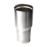 Taza de aluminio del vaso del termo aislada en el fondo blanco Imágenes de archivo libres de regalías