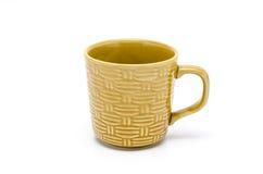 Taza de bambú de la textura en el fondo blanco Fotos de archivo libres de regalías