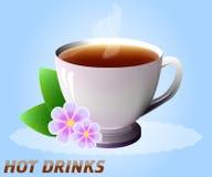 Taza de bebida caliente con las flores Té, café, etc Vector Fotografía de archivo