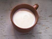 Taza de Brown de leche caliente Imagen de archivo libre de regalías