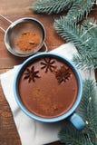 Taza de cacao con badian foto de archivo