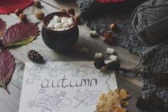 Taza de cacao con la melcocha, la postal hecha en casa del otoño, las hojas de la caída, la calabaza y las nueces en fondo de mad Fotografía de archivo