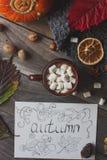 Taza de cacao con la melcocha, la postal hecha en casa del otoño, las hojas de la caída, la calabaza y las nueces en fondo de mad Foto de archivo libre de regalías