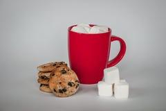 Taza de cacao en el fondo blanco melcochas y palillo del caramelo Fotos de archivo libres de regalías
