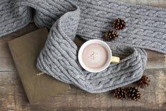 Taza de cacao en una bufanda gris foto de archivo