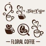 Taza de café abstracta natural de la cafetería de la plantilla floral del logotipo stock de ilustración