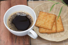 Taza de café blanca del café express Foto de archivo