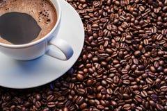Taza de café blanca en los granos de café Imágenes de archivo libres de regalías
