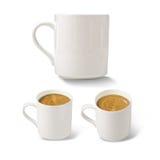Tazas blancas del cofee Imagen de archivo libre de regalías