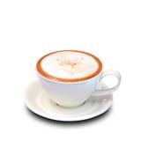 Taza de café, Cappuccino en el fondo blanco. Fotografía de archivo libre de regalías