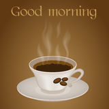Taza de café con buena mañana del texto Fotos de archivo