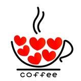 Taza de café con el icono rojo de los corazones Imagenes de archivo