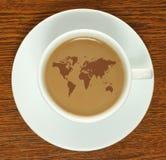 Taza de café con el mapa Foto de archivo libre de regalías