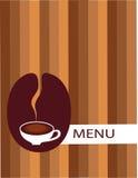 Taza de café con el menú de la haba Imagenes de archivo
