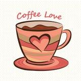 Taza de café con forma del corazón Foto de archivo libre de regalías
