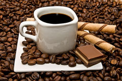 Taza de café con la decoración solamente Fotos de archivo