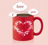 Taza de café con la tarjeta del día de tarjetas del día de San Valentín de área de texto Foto de archivo