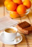 Taza de café con la torta de esponja Foto de archivo libre de regalías
