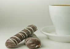 Taza de café con las galletas Imagenes de archivo
